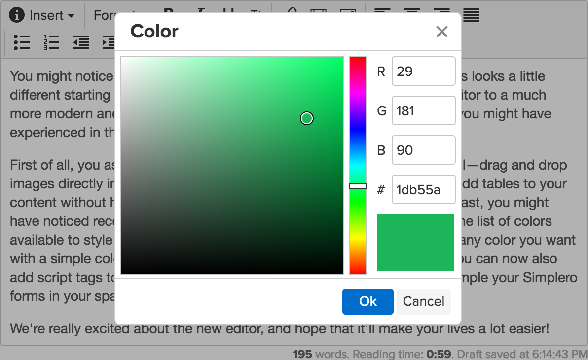 You can now choose custom colors